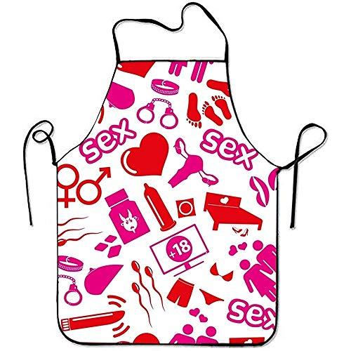 Pamela Hill Sex Theme Iconos Rojos y Rosados Sweetheart Chef Delantal de Cocina Bordes cosidos