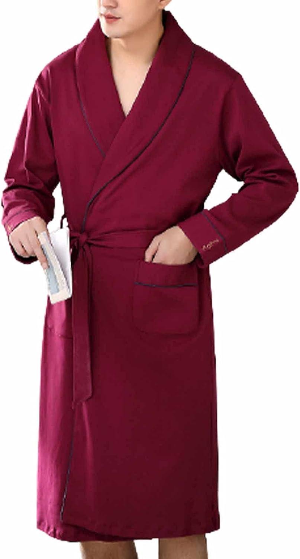 Fashionable BBOOY Men Kimono Cotton Nightgown Robe Bathrob Soft Sleeve Long trend rank