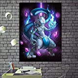mwioq 1 Pieza HD Cartoon Picture Digital Art Mewtwo Pocket Monster Pokemon Anime Poster Artwork Canvas Painting For Wall Decor-30Cmx40Cm_No_Framed