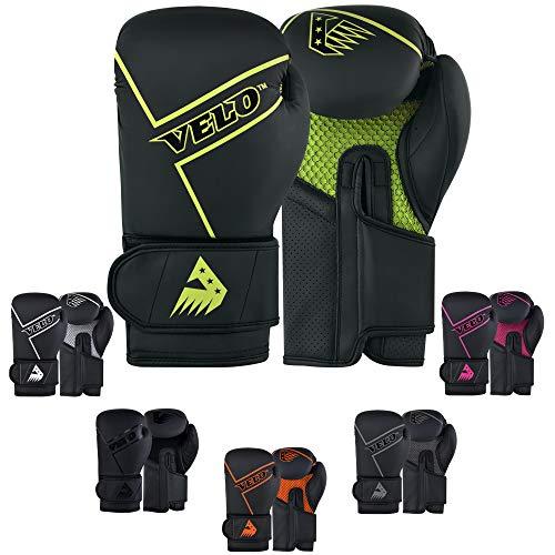 VELO Guantes de Boxeo de Piel Mate para Entrenamiento de Muay Thai, para Saco de Boxeo | almohadilla de enfoque (edición negra con mascarilla) (12 oz, verde-negro)