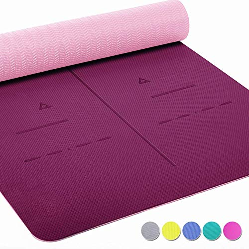 Heathyoga Eco Friendly 6mm Thick SGS Certified, TPE Textured, Non-Slip Extra Large Yoga Mat with...