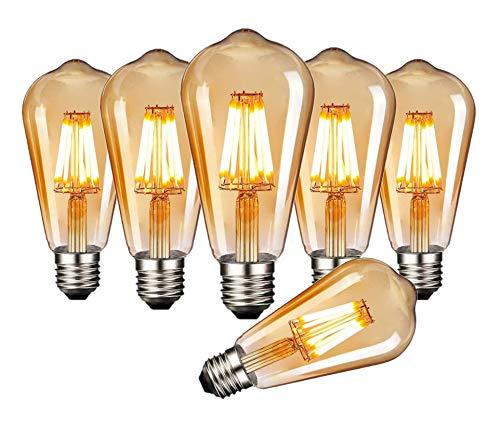 ILAMIQI Edison LED Vintage Light Bulb, E27 ST58, Warm White (2200 K), 550 lumens, 6W, Retro Lighting in the House, Cafe, Bar, Pack of 6 [Energy Class A+]