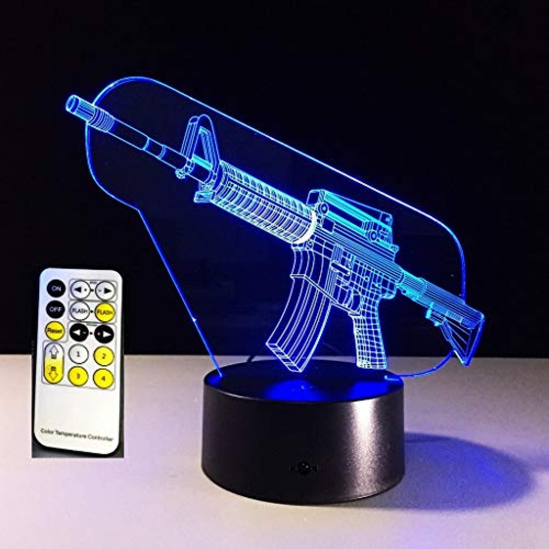 3D Nachtlicht LED Acryl Gewehr Modell Optisch Illusionen Lampe 7 Farbe ndern zum Geburtstag Weihnachten Geschenk mit Abs Base USB Leistung (Farbe   Touch and Remote)