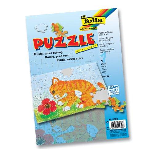 folia 2320 - Blanko Puzzle, 48 teilig, DIN A4, extra stark - ideal zum Selbstbemalen