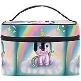 Bolsa de cosméticos Little Rainbow Unicorn Travel Makeup Organizer Bag Estuche de Tren portátil para Mujeres niñas