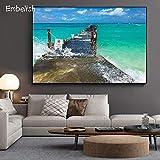 KWzEQ Imprimir en Lienzo Puente de Madera con Vistas al mar para Obras de Arte en la decoración de la Sala de póster30x45cmPintura sin Marco