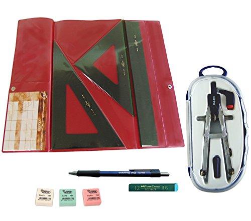 Faibo Pack Estuche técnico Verde Juego Regla 30 cm GRADUADA, escuadra y cartabón de 25 cm SIN GRADUAR + Bigotera SERIVAN + Portaminas Edding P12 + Tubo 12 Minas Faber Castell 0.7 mm HB
