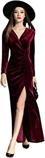 Women's 90s Retro Velvet Long Bodycon Side Slit Formal Evening Gown
