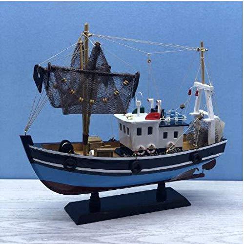1yess Wohnzimmer Dekorationen Segelboot Modell Blaue Fischerboot Modell Holz Handwerk Nautische Retro Modell Schiff Modell Holz Segelboot Spielzeug 8bayfa