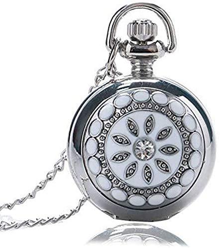 Silberblumenquarz Taschenuhr Halskette Anhänger Frauen Dame Geschenk Dekorieren Geschenk für Vater