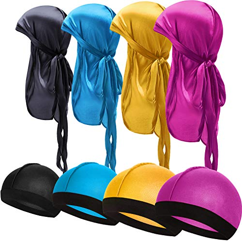 8 Pieces Silky Durag Caps Elastic Wave Cap Long Tail Headwraps Wide Straps Waves (Light Blue, Rosy Red, Black, Yellow)