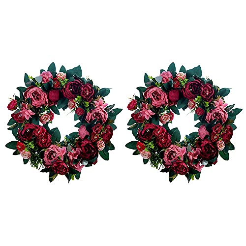 GGJJ Adornos para Puertas Guirnalda,Navidad Corona 15.7Pulgadas Rosas De SimulacióN Corona Adecuado para Bodas,Navidad,Regalos De San ValentíN DecoracióN Interior Y Exterior