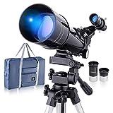 Telescopio astronómico profesional refractivo BNISE, alta ampliación HD, doble uso, adecuado para adultos o niños principiantes, portátil y equipado con trípode y bolsa de transporte