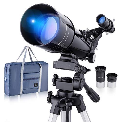 Télescope astronomique professionnel réfractif BNISE, agrandissement HD élevé, à double usage, adapté aux débutants adultes ou enfants, portable et équipé d'un trépied