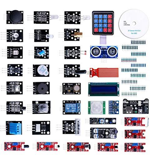 nJiaMe Modul Sensor Kit Projekt Starter Kit Elektronische Bauelemente Set Basic Starter Kit Kompatibel mit UNO R3 37pcs