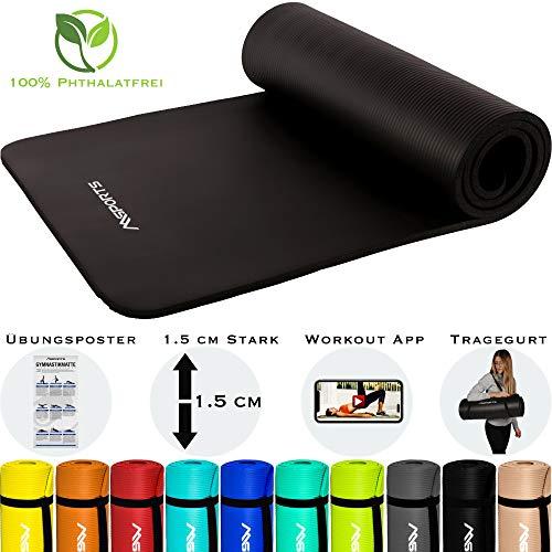 MSPORTS Gymnastikmatte Premium inkl. Tragegurt + Übungsposter + Workout App GRATIS I Fitnessmatte Schwarz - Matt - 190 x 60 x 1,5 cm Hautfreundliche Phthalatfreie Yogamatte