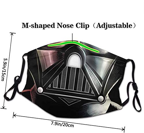 PXQOV Darth Vader Face Ma-sk Reusable Washable Halloween Ma-sk Fabric Protective Breathable Scarf Balaclava Adjustable Size for Men Women Adults Kids Boys Children