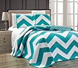 Chezmoi Collection Zoe 3-Piece Chevron Zig Zag Channel Quilted Bedspread Coverlet Set (Teal, Queen)