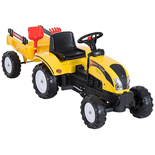 HOMCOM Tretauto Traktor Trettraktor mit Anhänger ab 3 Jahre Spielzeug Kinder Gelb 133 x 42 x 51cm