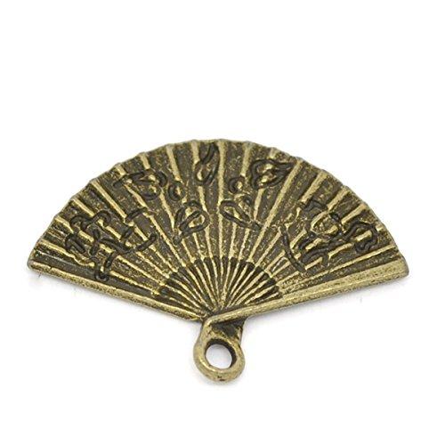 Housweety 50 Bronze Tone Hand Fan Charm Pendants 24x17