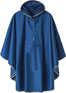 LINENLUX Hoodie Raincoat Poncho Active Outdoor Windbreaker Jacket with Front Pocket Royal Blue