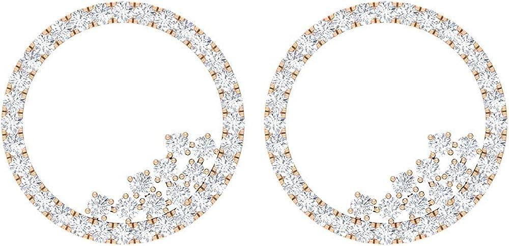 1/2 CT Minimal Open Circle Stud Earrings with Diamonds (AAA Quality), Screw back