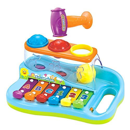 Forepin Xilofono Giocattoli Musicali Tastiera Gioco Strumenti Musicali Pianoforte Bambino Toy con Martello e Palle per Bambino