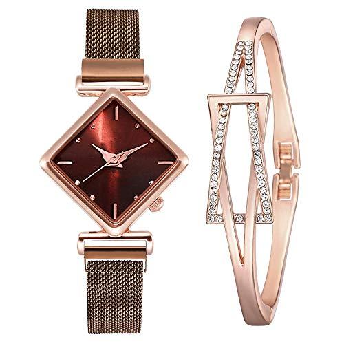 XIAOQIAO Reloj Square Ladies, Luxury Ladies Cuartz Imán Hebilla, Reloj Degradado, Reloj de Regalo (Color : XR4396-CO-RG)