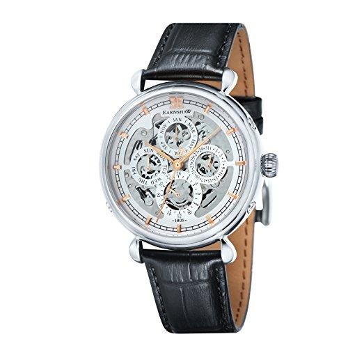 Thomas Earnshaw - Grand calendar - ES-8043-02 - Montre - Affichage Analogique - Bracelet Cuir Noir - Cadran Blanc - Homme