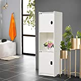 Waterproof Bathroom Tall Cabinet Standing White Floor Storage Unit Cupboard Furniture Bathroom Accessorie Tidy Narrow Shelf for Toilet Bedroom Kitchen Living Room With Screw-H35inchxD10inchxL10inch