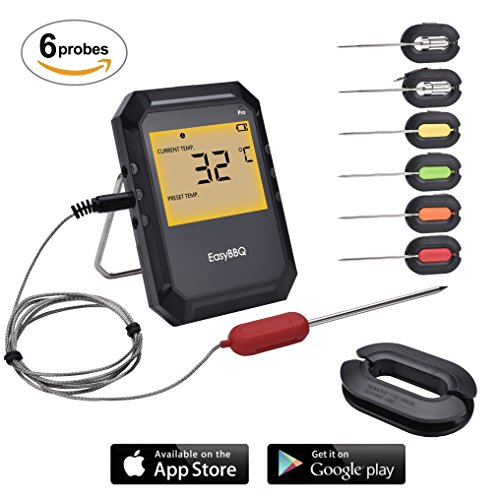 AidMax EasyBBQ 6 Probes BBQ Thermometer for Grill, Pro02, Digital Meat Probe Thermometer Wireless Remote, Food Thermometer for Outdoor Oven Smoker