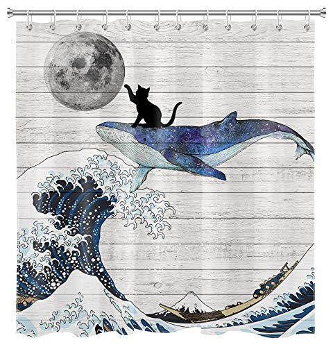 Cat riding a Whale to Touch the Moon