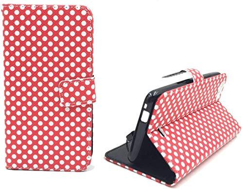 König Design Handyhülle Kompatibel mit Wiko Rainbow Jam Handytasche Schutzhülle Tasche Flip Hülle mit Kreditkartenfächern - Polka Dot Weiße Punkte Rot