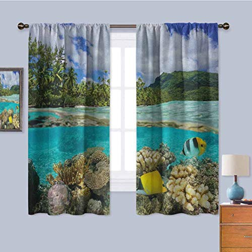 Island Outdoor Curtain, Curtains 39 inch Length Pacific Ocean French Polynesia Lagoon of Huahine Lush Shore with Corals and Fish Repeatable use Multicolor W55 x L39 Inch