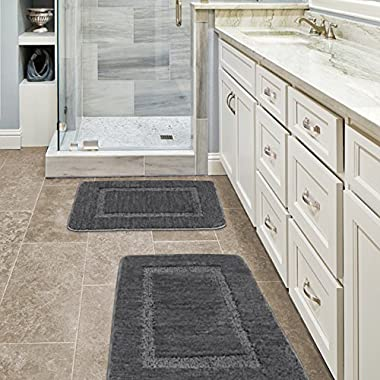 Grey Rugs for Bathroom Slip-Resistant Shag Chenille Bath Rugs Mat Extra Soft and Absorbent (Set of 2) Bath Rugs for Shower Room Machine-Washable Fast Dry (Gray, 32 x 20 plus 24 x 17 - Inches)