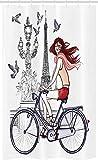 ABAKUHAUS Paris Schmaler Duschvorhang, Frau auf Fahrrad Eiffel, Badezimmer Deko Set aus Stoff mit Haken, 120 x 180 cm, Pfirsich Grau Rot