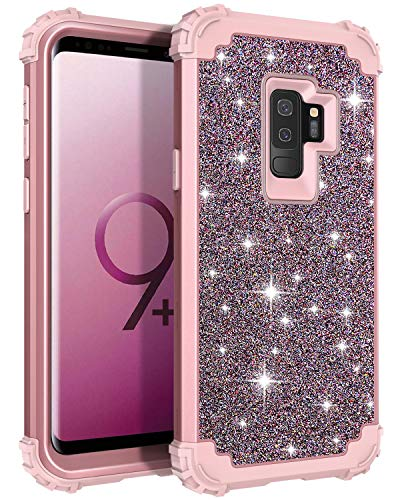 Casetego Compatible Galaxy S9 Plus Case,Glitter Sparkle Bling Three Layer Heavy Duty Hybrid Sturdy Shockproof Protective Cover Case for Samsung Galaxy S9 Plus-Shiny Rose Gold