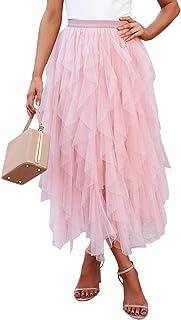 KIRUNDO 2020 Summer Women's Sheer Tutu Skirt Mesh Layered Ballet Party High Low Flowy A-line Midi Skirt