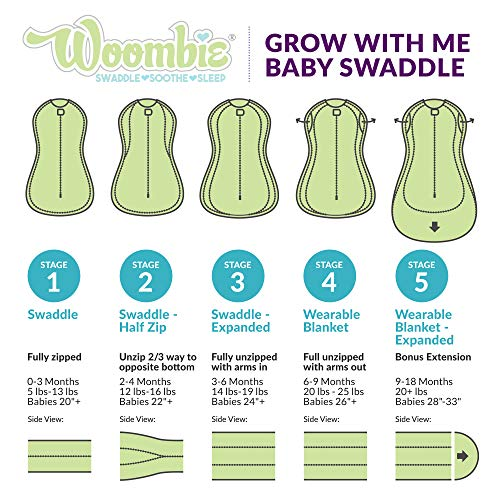 Woombie Grow with Me Baby Swaddle, Convertible Swaddle Fits 0-9 Months, Expands to Wearable Blanket for up to 18 Months, Wildflowers