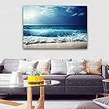 KWzEQ Seascape Wall Art Lienzo Pintura Moderno Paisaje Grande Obra de Arte Playa y Olas HD poster30X45cmPintura sin Marco