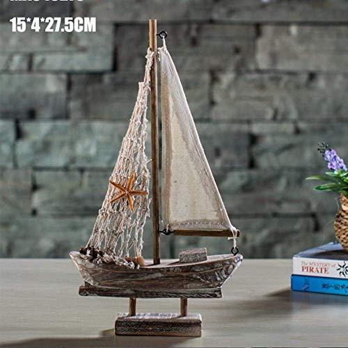 Vintage Segeln Modell Handgefertigte Holzhandwerk Boot Wohnzimmer Home Office Desktop-TV-Schrank Wasser Dekoration Geschenk 1yess