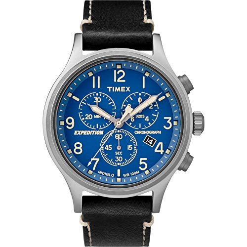 Timex Men's TW4B12400 Expedition Scout Chrono Black/Blue Leather Strap Watch