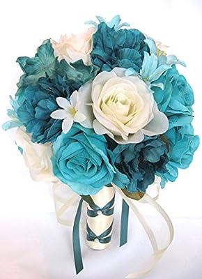 Amazon Com Wedding Bouquets Bridal Silk Flowers Turquoise Teal Aqua Cream 17 Piece Package Wedding Bouquet Centerpiece Flower Arrangements Rosesanddreams Home Kitchen