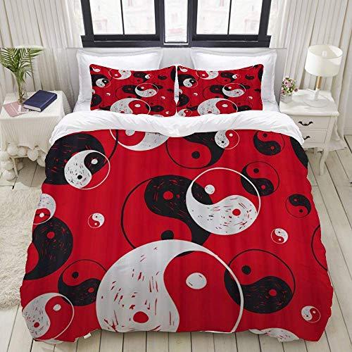 Funda nórdica, símbolo de Yin-Yang Rojo, Juego de Ropa de Cama Juegos de Microfibra de Lujo Ultra cómodos y Ligeros (3 Piezas)