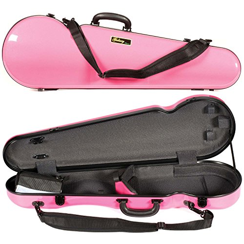 red violin with cases Galaxy Comet 300SL Shaped Pink Violin Case with Gray interior