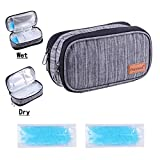Double Couche Sac Isotherme avec Pack de Glace pour Diabétiques Sac Isotherme pour Transporter les Médicaments Insuline Cooler Case Voyage Organisateur Sac de Refroidissement Médical (Gris)