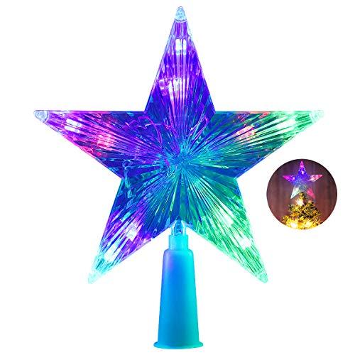 AsperX Christmas Tree Topper, Multi-colour Flash Star Decoration Light Battery Operated Tree Topper(16cm)