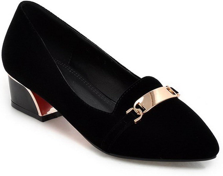 AdeeSu Womens Pointed-Toe Rubber Solid No-Closure Suede Pumps shoes SDC03581