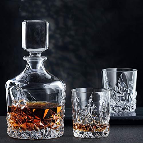 SHENGYUAN Juego De Vasos Y Decantadores De Whisky De Cristal, Juego De Decantadores De Licor Originales para Whisky Irlandés, Escocés O Bourbon, 3 Piezas para Hombres, Papá, Esposo, Novio