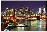 APAZSH Cuadros Decoracion Póster Puente de Brooklyn en la Noche Decoracion de Cuadros Ciudad de Nueva York Rascacielos Iluminado Skyline Wall Street Lienzo Art Poster 60x90cm x1 Sin Marco